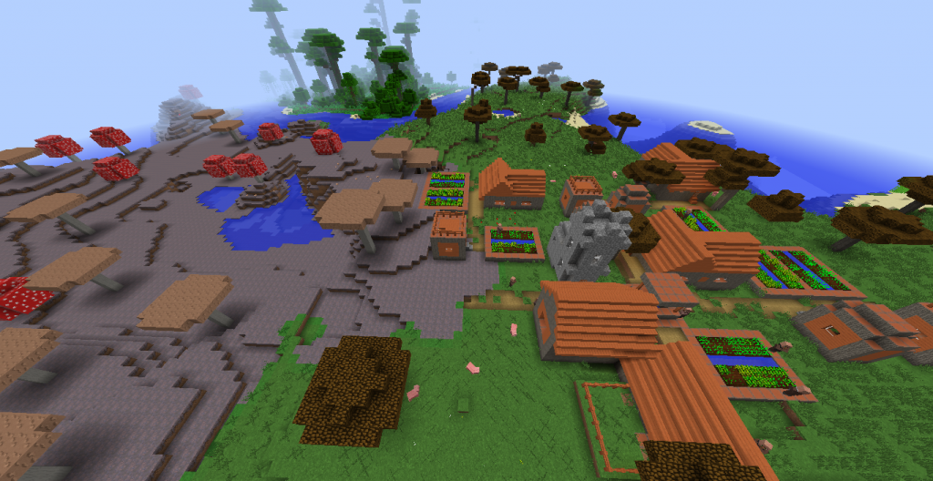 Village with zombies and mushrooms on spawn Seed